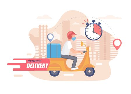 Fast,free and healthy scooter delivery concept. Food and other shipping service for websites in quarantine. Vector illustration of quick and express deliver. Advertise for restaurants, caffees, shops. 矢量图像
