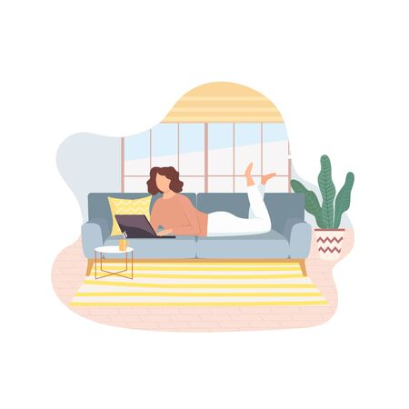 Freelancer working on laptop lying on sofa at home,remote job.Young girl studying from home,e-learning concept.Comfortable conditions for work during the quarantine.Online shopping.Vector illustration