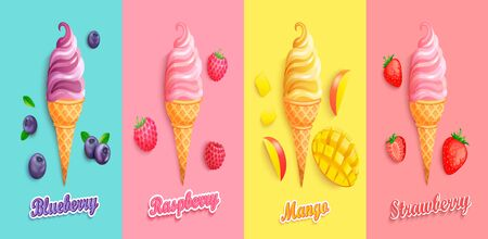 Set of strawberry,mango,blueberry and raspberry Ice creams.Sundaes with fruits and berries.Gelato for banner,poster,brand,template and label,packaging,packing,emblem and advertise.Vector illustration. 矢量图像