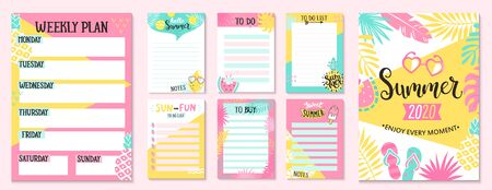 Weekly and Daily Planner Templates. Organizer and Schedule with Notes,To Do and to buy lists. Summer hand drawn blanks with tropical leaves,ice cream and fruits-pineapple,watermelon,lemon.Vector
