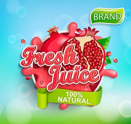 Fresh pomegranate juice label with splash, fruit slice on bokeh background for brand,logo, template,label,emblem,store,packaging,advertising.100 percent natural garnet juice.Vector illustration