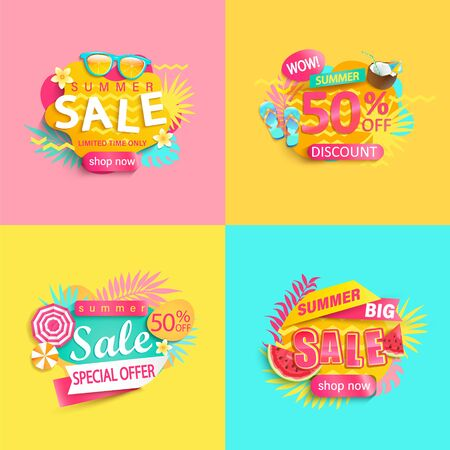 Bright summer sale banner, set of discount posters for hot season. Labels with tropical leaves,ice cream,watermelon, sunglasses.Invitation for shopping, special offer card, template for your design.