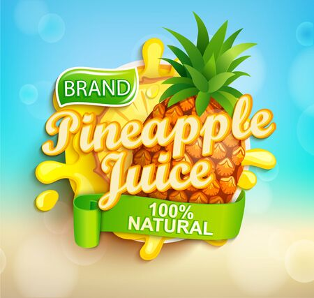 Fresh pineapple juice label with splash, fruit slice on bokeh background for brand,logo, template,label,emblem,store,packaging,advertising.100 percent natural tropical sap.Vector illustration. Archivio Fotografico - 146234856
