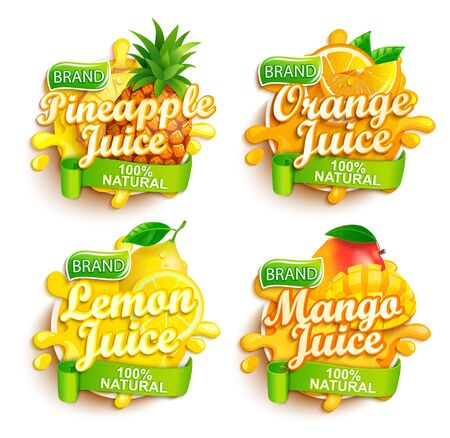 Set of fresh juices logo. Pineapple, orange, lemon and mango sap label with splash, fruit slice on for brand,template,emblem,store,packaging,advertising.100 percent natural tropical juice.Vector. 矢量图像