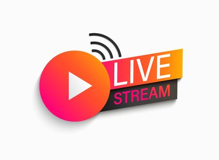 Live stream symbol, icon with play button. Emblem for broadcasting, online tv, sport, news and radio streaming. Template for shows, movies and live performances. illustration.
