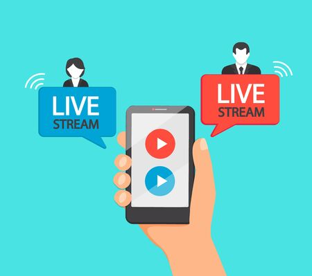 Live stream via mobile phone. Hand with smatphone with online meeting, broadcasting, tv, sport, news and radio streaming. Template for infographics, presentation or advertising. Vector illustration. Archivio Fotografico - 147364329