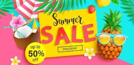 Bright Sale banner for summer 2020. Hipster pineapple invites to big discounts in hot season, poster with tropical leaves,cocktail, sun umbrella on two colors geometric background.Vector Illustration. Archivio Fotografico - 147364332