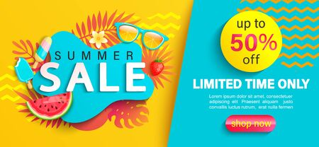 Summer big Sale banner, up to 50 percent limited time discount, promotion,hot season promo with tropical leaves,watermelon,ice cream on geometric background for shopping, special offer card.