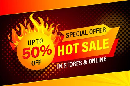 Hot sale, special offer banner. Stores and online sales. Clearance up to 50 percent. Big discounts promotion. Promo sticker, template for label, advertise and design. Vector illustration. Archivio Fotografico - 148716673