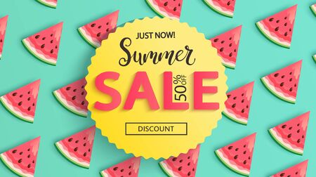 Bright Sale banner for summer 2020 with watermelons.Just now 50 percent discounts in hot season,sweet berries pattern.Poster,flyer with invitation to shopping.Template for design.Vector Illustration. Archivio Fotografico - 148716675