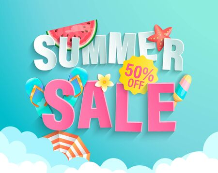 Summer's 2020 sale banner with hot season elements. Invitation poster with watermelon, ice cream and promotion with big discounts above the clouds.Template for design.Vector Illustration. Archivio Fotografico - 148921483