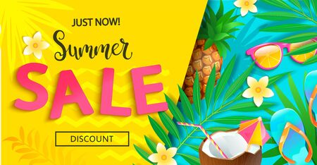 Bright sale banner for summer 2020 on geometric background.Just now big discounts.Invitation to shopping.Card with pineapple,cocktail,tropical leaves,sunglasses.Template for design.Vector Illustration Archivio Fotografico - 149310091
