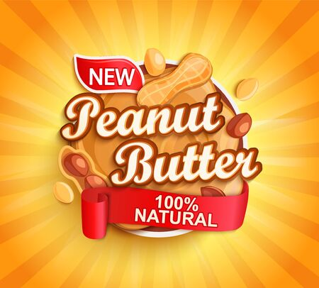 Organic peanut butter label, natural product with nuts on gold sunburst background for your brand,  template, label, emblem for groceries, stores, packaging and advertising, marketing. Vector Archivio Fotografico - 150150726