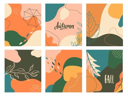 Set of autumn abstract fluid backgrounds with geometric shapes. Template design for flyer, new season banner,poster,cards.Pastel fall placards. Vector illustration. Archivio Fotografico - 150150727