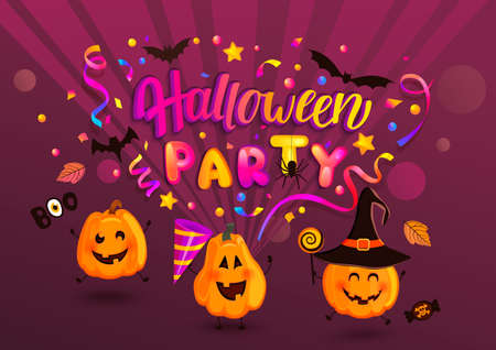 Halloween party greeting banner for kids for Happy holiday with monster pumpkins, bat, spiders and confetti. Template for web,poster,flyers, ad,promotions, blogs.Vector illustration. Archivio Fotografico - 151214140