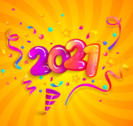 2021 new year greeting banner with inflatable numbers, cracker and confetti on sunburst background. Design template for celebration. Great for invitation flyers, posters, cards. Vector illustration. Archivio Fotografico - 151607219