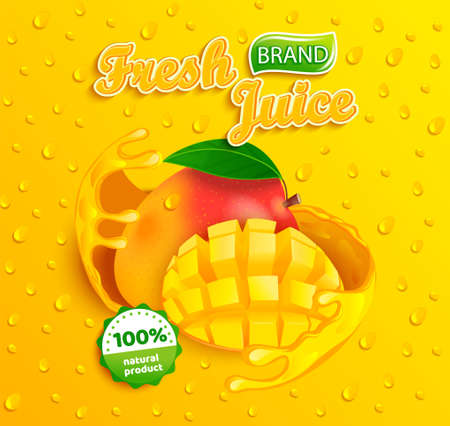 Fresh mango juice label with splash around the fruit slice with apteitic drops from condensation on background for brand,logo,label,emblem,packaging,ad.100 percent natural sap.Vector illustration. Archivio Fotografico - 154039554