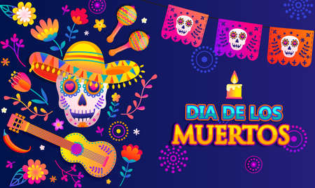 Bright banner for Day of the dead, Mexican Dia de los muertos, poster with colorful flowers,flags, skull in sombrero, guitar, maracas and place for text.Party flyer, greeting or invitation card.Vector Archivio Fotografico - 154039555