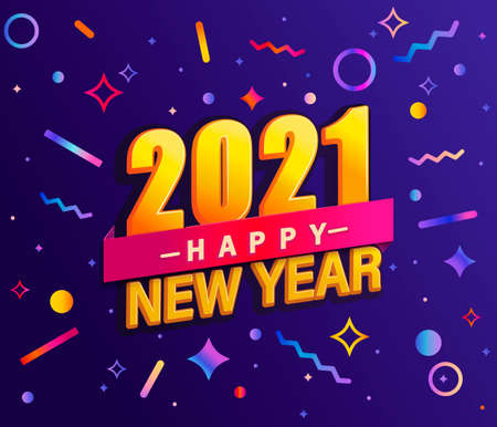 Banner for 2021 new year. Modern design card, poster with geometric shapes and wishing happy holiday.Great for flyers, greetings, invitations. congratulations .Vector Archivio Fotografico - 155200495