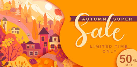 Autumn sale card with fall countryside landscape: trees, houses, mountain.Big discounts in new season with panoramic of countryside. Banner, poster, card with clearance.Vector illustration. Archivio Fotografico - 155200492