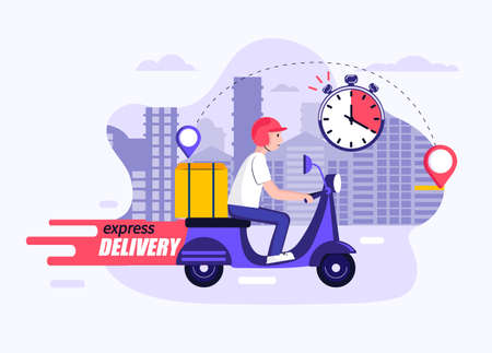 Express and free delivery in time by scooter,concept.Fast food and other shipping service for websites and apps.Vector illustration of quick and express deliver.Advertise for restaurants,caffees,shops Archivio Fotografico - 155200496