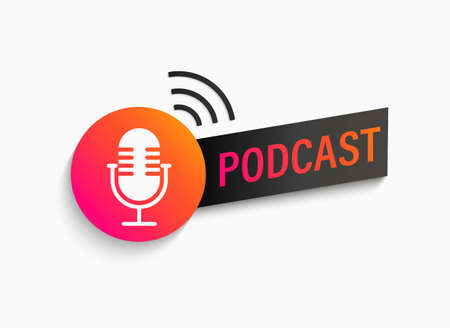 Podcast symbol, icon with studio microphone. Emblem for broadcast,news and radio streaming. Template for shows, live performances. Dj audio podcasting. Vector illustration. Archivio Fotografico - 155200499