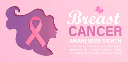 Breast cancer awareness month banner with woman silhouette in papercut style.Poster for world preventive health care iniative.Paper cut face with ribbon inside.Template for design,flyer.Vector.