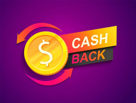 Cash back offer banner. Promotion of refund, cashback money service help to save finance. Shopping makes money. Template for your design. Dollar coin emblem of Vector illustration. Archivio Fotografico - 156252122