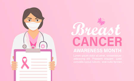 Breast cancer awareness month banner with doctor or nurse in Medical Mask holding a clipboard. Poster for world preventive health care iniative.Template for design, flyer, advertise.Vector. Vettoriali