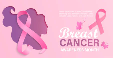 Breast cancer awareness month, card, flyer, banner with woman silhouette in papercut style.Poster for world preventive health care iniative.Paper cut face with ribbon.Template for design.Vector. Vettoriali