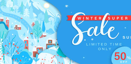 Winter sale card with fall wintertime landscape: trees, houses, mountain.Big discounts in new season with panoramic of countryside. Banner, poster, card with clearance.Vector illustration.