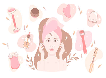 Silhouette of a womans face with beauty gadgets. Excellent female skin with a facial roller, massager. Chinese medicine recommends. Cosmetic self-care.Advertising a beauty salon.Vector illustration. 免版税图像 - 156563964