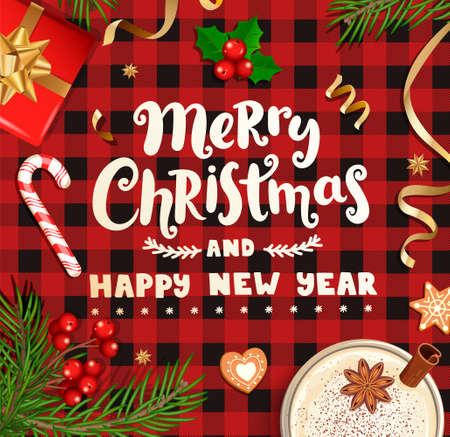 Merry christmas and happy New Year wishing card for new 2021 season.Banner with christmas gifts, holiday elements on checkered pattern with black-red stripes and squares.Top view.Vector Illustration. Archivio Fotografico - 157217449