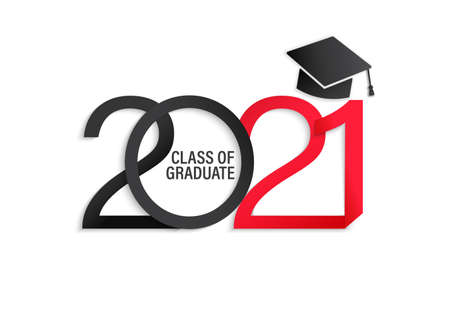 Class of 2021, elegant card in black and red colors for banners, flyers, greetings, invitations, business diaries, congratulations and posters at the prom. Vector illustration.