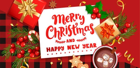 Merry christmas wishing card for new 2021 season.Happy new year greeting banner with christmas gifts, holiday elements on checkered pattern with black-red stripes and squares.Vector Illustration. Archivio Fotografico - 157217454