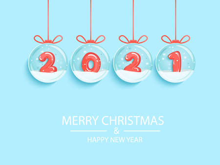 Happy 2021 New Year. Wishing merry christmas with red inflatable numbers inside snow globes hanging on strings.Greetig or invitatin card, banner for seasonal holidays, flyer. Vector illustration.
