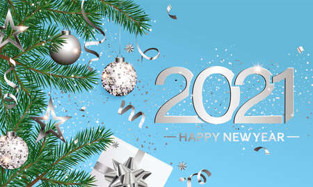 Happy 2021 New Year wishing card for new season.Greeting banner in silver with christmas gifts,holiday elements for greetig or invitatin card, placard for seasonal holidays, flyer.Vector Illustration.