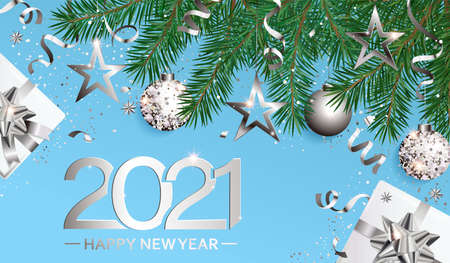 Wishing card for Happy 2021 New Year,new season.Greeting banner in silver with christmas gifts,holiday elements for greetig or invitatin card, placard for seasonal holidays, flyer.Vector Illustration. 免版税图像 - 158237375
