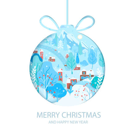 Happy 2021 New Year. Wishing merry christmas with winter landscape inside papercut ball hanging on string.Greetig or invitatin card, banner for seasonal holidays, flyer. Vector illustration.