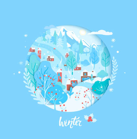Winter card,papercut countryside wintertime scene. Landscapebpanoramic view with town, trees,houses,mountain, red rowan. Poster, flyer, banner for new season. Vector illustration.