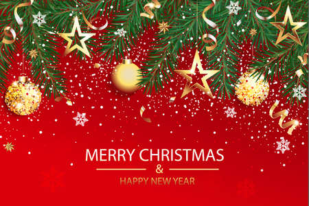 Wishing card for Christmas and Happy 2021 New Year.Greeting red banner with christmas decorations for congratulation or invitatin card, flyers, placard for seasonal holidays.Vector Illustration.