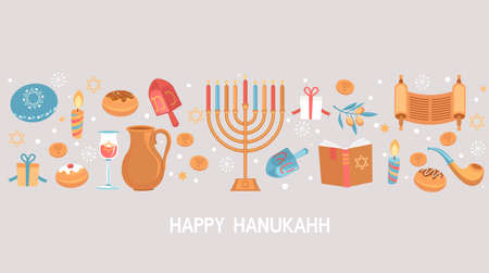 Happy Hanukkah greeting card for Jewish holiday. Template for banner, flyer with Torah, menorah candles, dreidels, donuts, oil jar, star David and place for your text. Vector illustration. 免版税图像 - 158237383