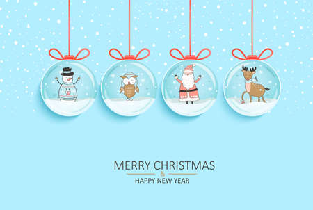 Happy 2021 New Year. Wishing merry christmas with Santa,reindeer,snowman inside snow globes hanging on strings.Greetig or invitatin card, banner for seasonal holidays, flyer. Vector illustration. 免版税图像 - 158239207