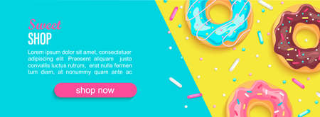 Sweet shop horizontal banner with donuts and place for text for your design. Great for kids menu, caffee, posters, web, cards, cafeteris advertise.Template vector illustration.