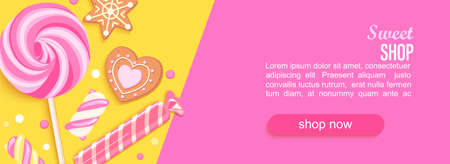 Sweet shop horizontal banner with sweets, cookies, marmalade and place for text for your design. Great for kids menu, caffee, posters, web,cards, cafeteris advertise.Template vector illustration. 免版税图像 - 158664702