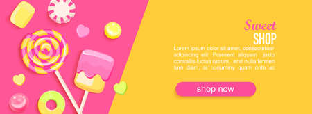 Sweet shop horizontal banner with candy, marmalade, marshmallows and place for text for your design. Great for kids menu, caffee, posters, web, cards, cafeteris advertise.Template vector illustration. 免版税图像 - 158664703