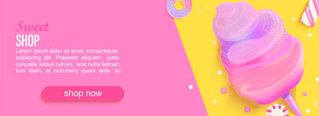 Sweet shop horizontal banner with cotton candy,marmalade, marshmallows,place for text for your design. Great for kids menu,caffee,posters,web, cards, cafeteris advertise.Template vector illustration.