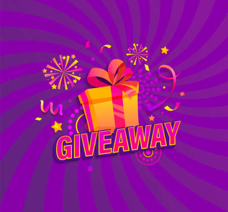 Giveaway banner, Win poster with gift box with prize to winner. Template design for social media posts, web banners on sunburst background. Offer reward in contest, vector illustration.