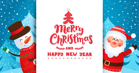 Greeting card with Santa and snowman wishing merry christmas and happy New Year and inviting to new season 2021.Banner,flyer for seasonal holidays with place for text. Vector illustration.