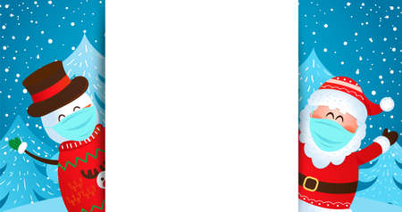 Greeting card with Santa and snowman in masks wishing merry christmas and happy New Year and inviting to new season 2021.Banner,flyer for seasonal holidays with place for text. Vector illustration. 免版税图像 - 159051307